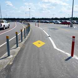 Parking lot walkway