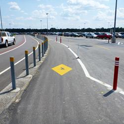 Parking lot walkway