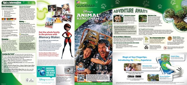 New Disney's Animal Kingdom Park Guide Map with Harambe Theater District addition - front