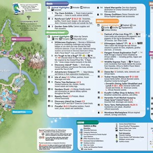 2 of 2: Disney's Animal Kingdom - New Disney's Animal Kingdom Park Guide Map with Harambe Theater District addition - back