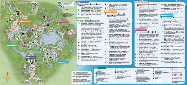 Disney's Animal Kingdom - New Disney's Animal Kingdom Park Guide Map with Harambe Theater District addition - back