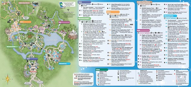 New Disney's Animal Kingdom Park Guide Map with Harambe Theater District addition - back