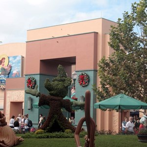 3 of 4: Animation Courtyard - Disney-MGM Studios signage removed from the Animation Courtyard Arch