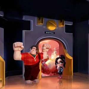 1 of 1: Character Meet and Greets at Disney's Hollywood Studios - 'Wreck-It Ralph' meet and greet concept art - Ralph and Vanellope at Tomorrowland Starcade