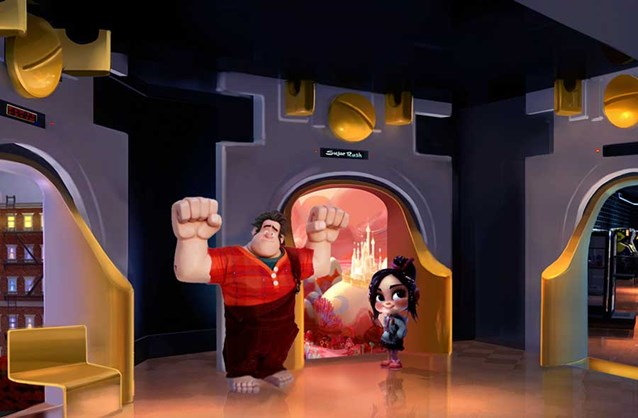 Character Meet and Greets at Disney's Hollywood Studios - 'Wreck-It Ralph' meet and greet concept art - Ralph and Vanellope at Tomorrowland Starcade