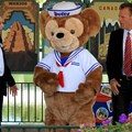 Character Meet and Greets at Epcot - Dan and Liz escort Duffy to his Meet and Greet home