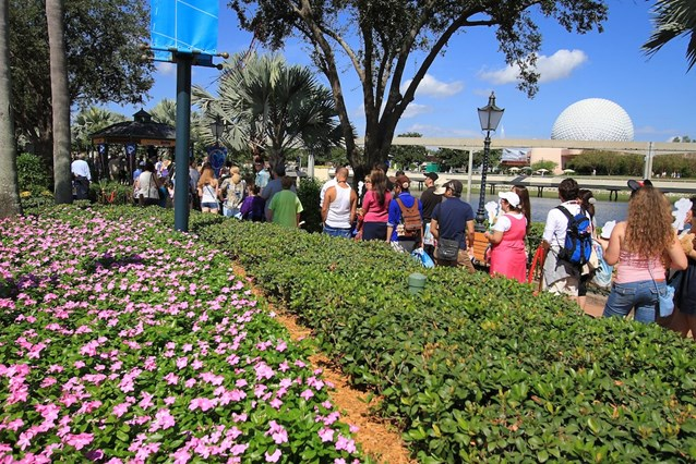 Character Meet and Greets at Epcot - The area has a very well integrated queue