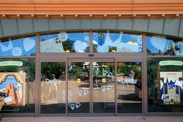 Character Meet and Greets at Epcot - Even the sliding glass doors have Duffy artwork
