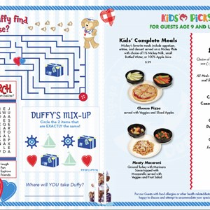1 of 2: Character Meet and Greets at Epcot - Duffy on Epcot restaurant Kid's menus