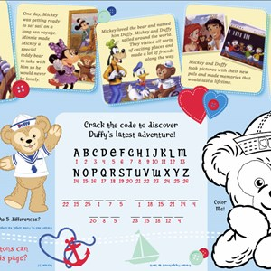 2 of 2: Character Meet and Greets at Epcot - Duffy on Epcot restaurant Kid's menus