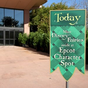 1 of 3: Character Meet and Greets at Epcot - The location near to Mouse Gear that is not yet open - signs direct guests to Character Spot