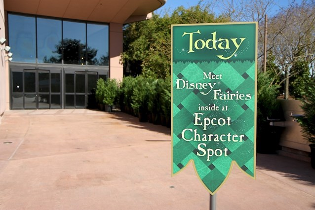 Character Meet and Greets at Epcot - The location near to Mouse Gear that is not yet open - signs direct guests to Character Spot