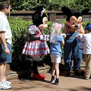6 of 7: Character Meet and Greets at the Magic Kingdom - Mickey and Minnie meet and greet at at Splash Mountain, Frontierland