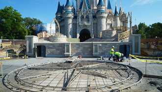 PHOTOS - New Cinderella Castle forecourt taking shape in the Magic Kingdom