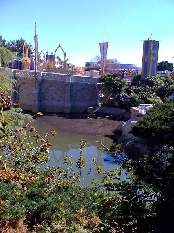 Cinderella Castle moat draining