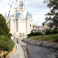 Cinderella Castle - A totally drained castle moat and crane working on the Dream Light removal