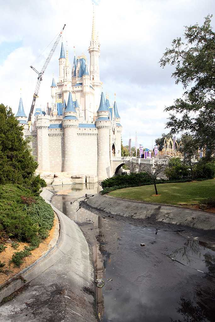 A totally drained castle moat from 2010