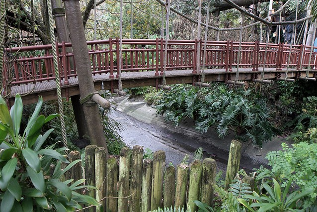 Cinderella Castle - Adventureland drained waterway at the tree house entrance