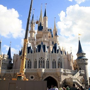 7 of 8: Cinderella's Holiday Wish - Cinderella's Holiday Wish lights installation - crane onsite