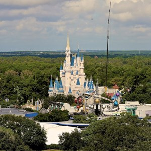 1 of 1: Cinderella's Holiday Wish - Cinderella's Holiday Wish lights installation - crane onsite