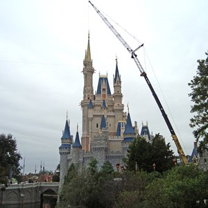 3 of 3: Cinderella's Holiday Wish - Crane onsite removing the Castle Dream Lights