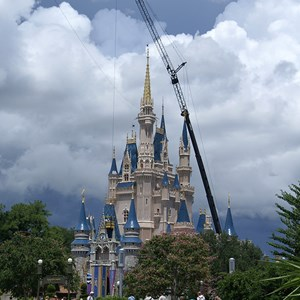 3 of 10: Cinderella's Holiday Wish - Cinderella's Holiday Wish lights installation - crane onsite