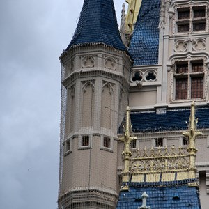 5 of 10: Cinderella's Holiday Wish - Cinderella's Holiday Wish lights installation - crane onsite