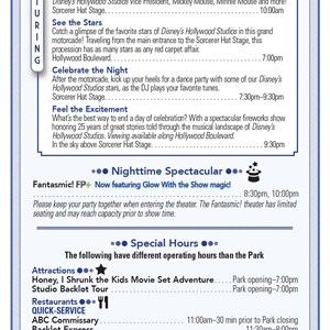 1 of 2: Disney's Hollywood Studios - Disney's Hollywood Studios 25th Anniversary times guide front