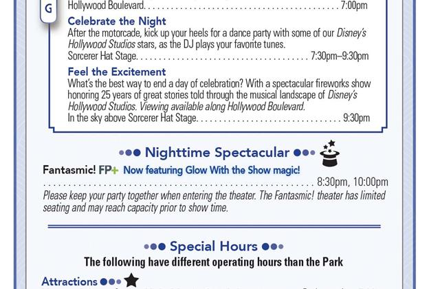 Disney's Hollywood Studios 25th Anniversary times guide