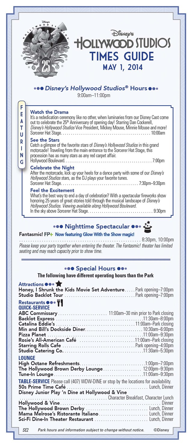 Disney's Hollywood Studios - Disney's Hollywood Studios 25th Anniversary times guide front