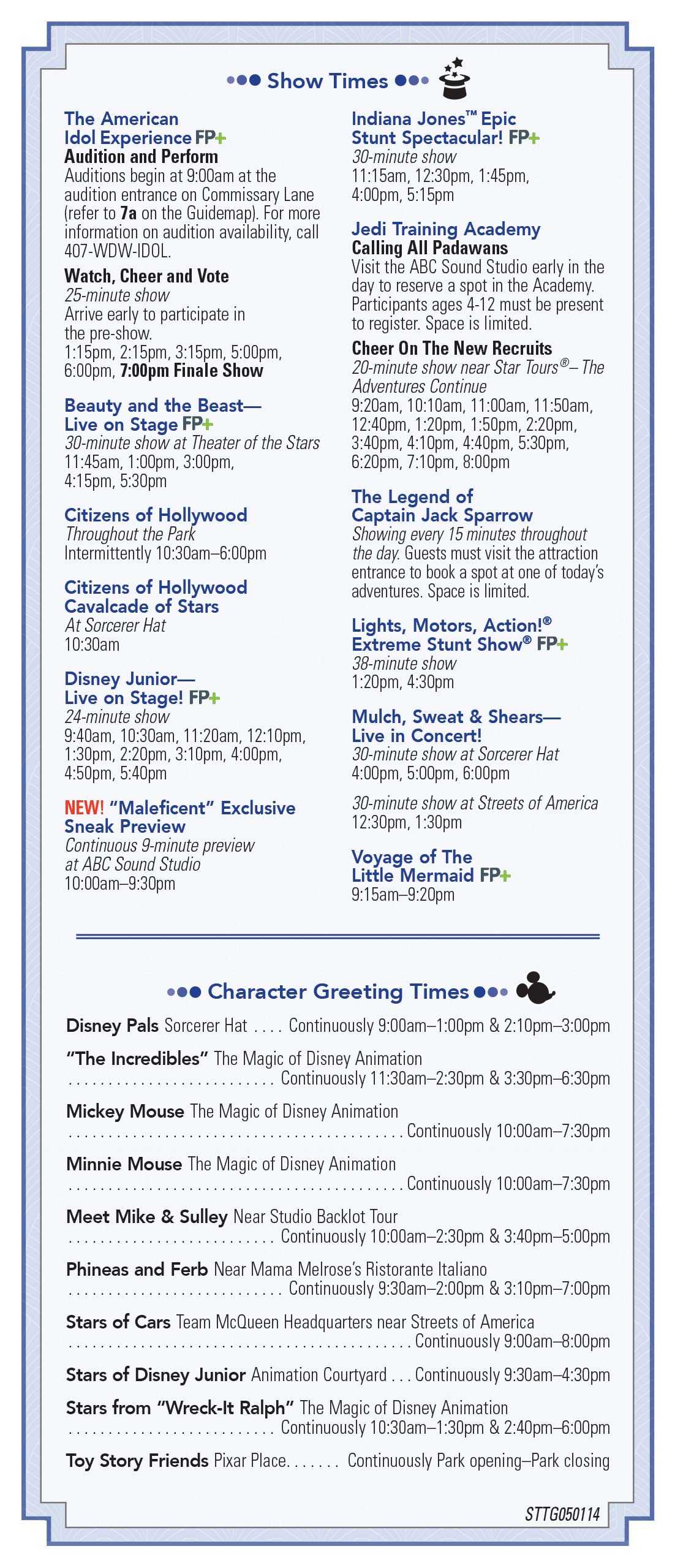 Disney's Hollywood Studios 25th Anniversary times guide back