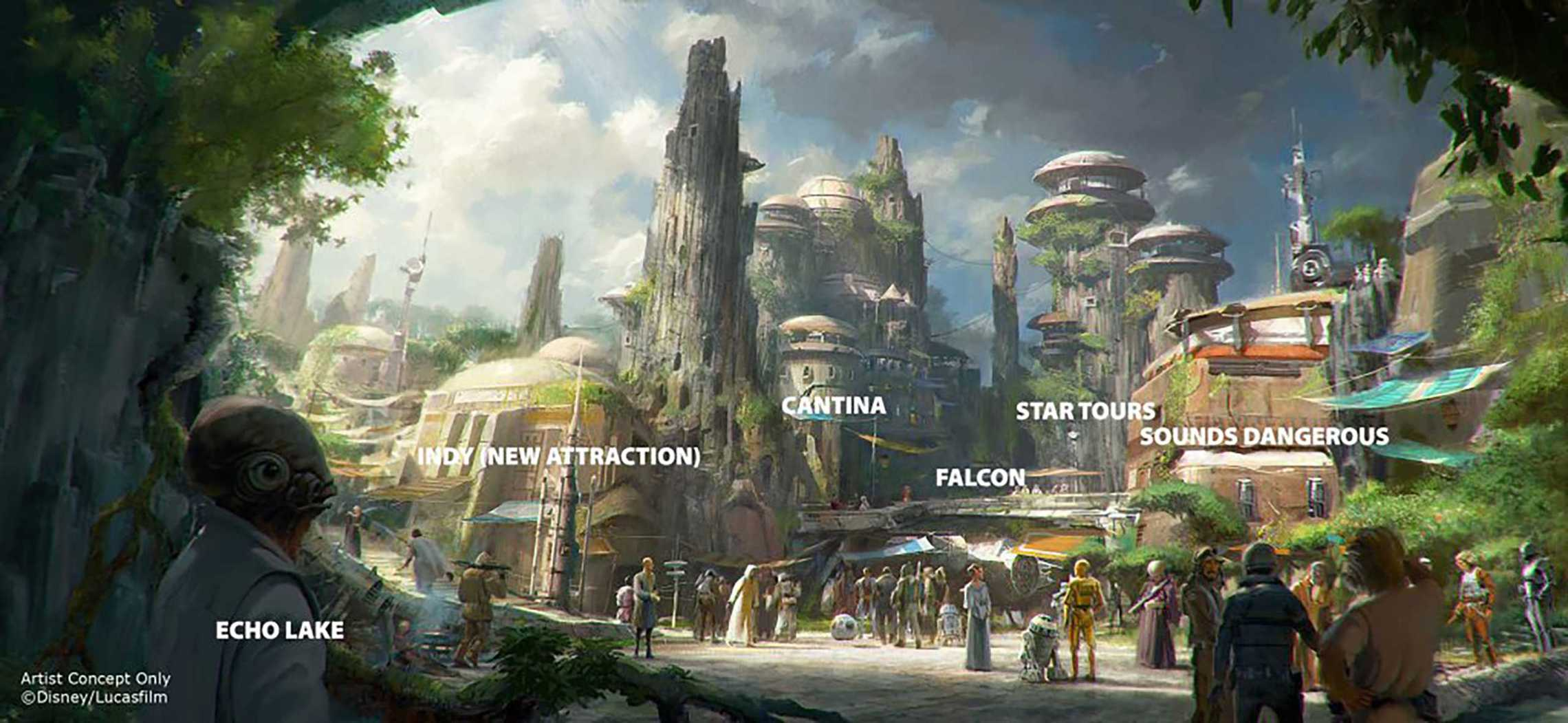 Possible attraction layout in Star Wars Land at Disney's Hollywood Studios. By Ignohippo.