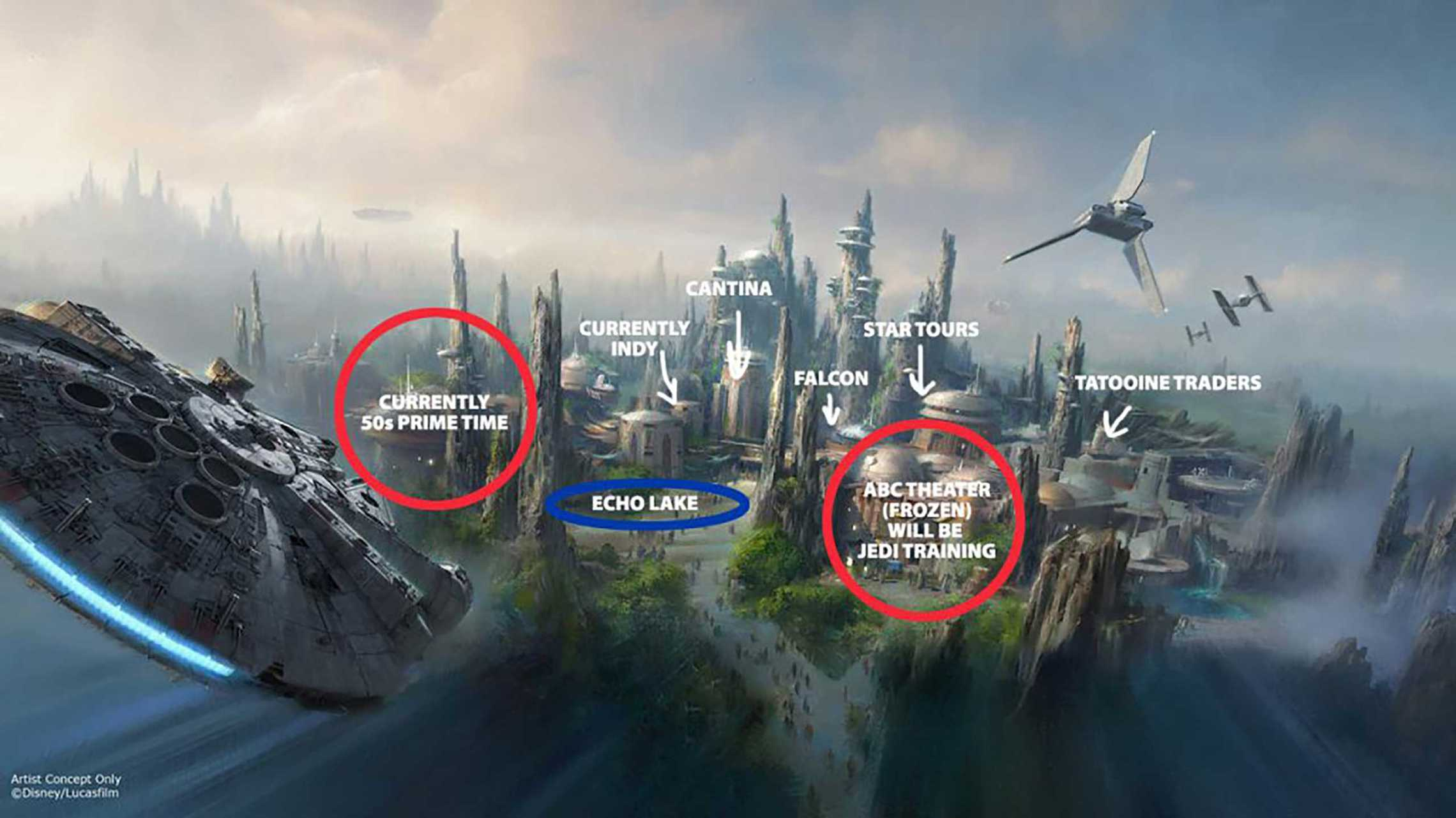 Possible Star Wars Land layout at Disney's Hollywood Studios. By Ignohippo.