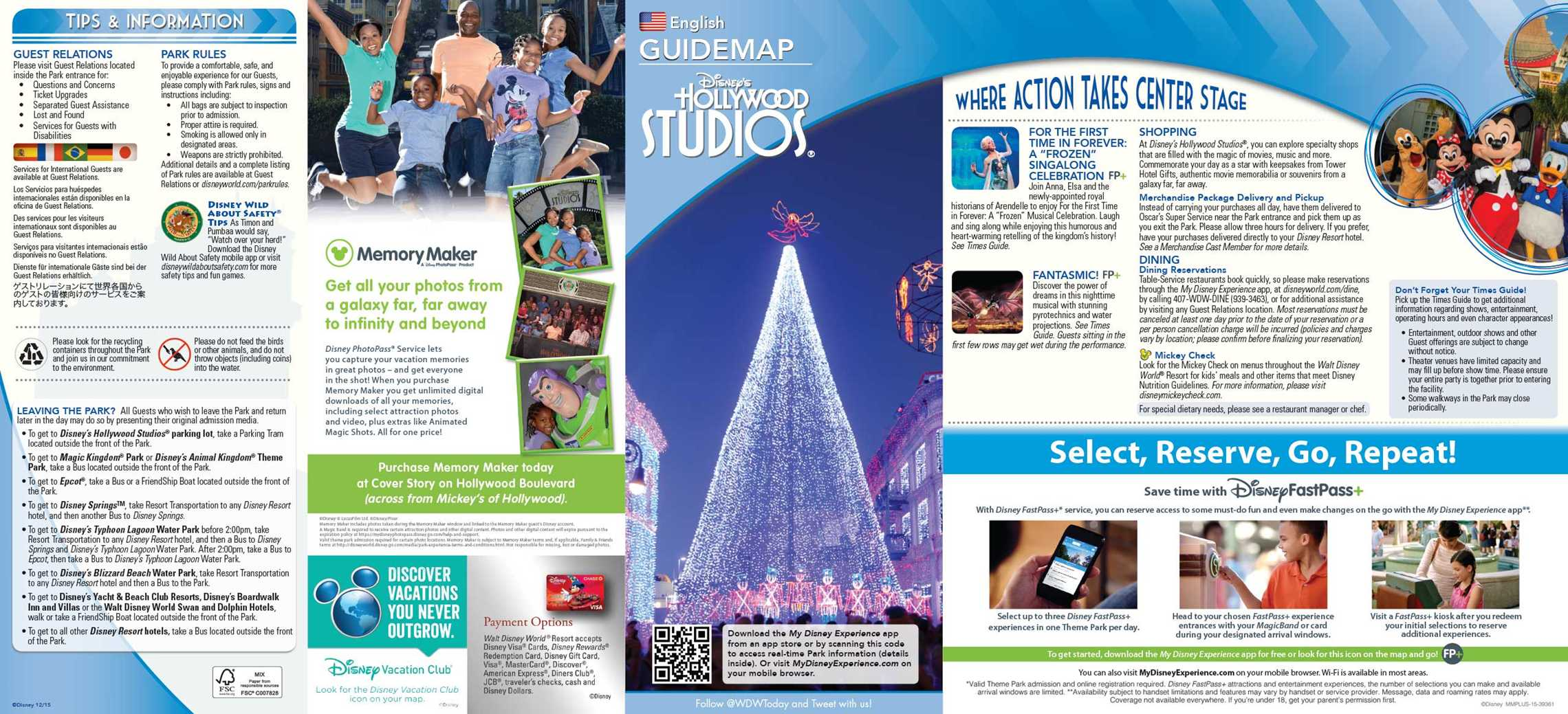 Disney 39 s Hollywood Studios Guide Map December 2015 Photo 1 of 2