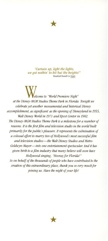 World Premiere Night Brochure