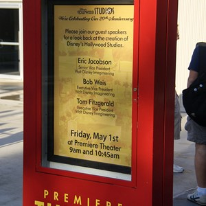 2 of 6: Disney's Hollywood Studios - The billboard outside the Premiere Theater inviting guests to attend the Studios 20th birthday Imagineering event.