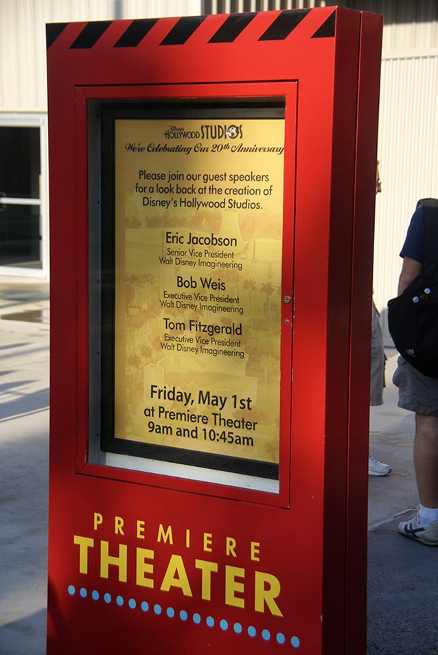 Disney's Hollywood Studios - The billboard outside the Premiere Theater inviting guests to attend the Studios 20th birthday Imagineering event.