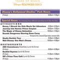 Disney&#39;s Hollywood Studios - Studios 20th birthday Times Guide.