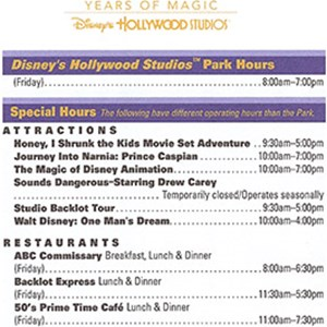 4 of 6: Disney's Hollywood Studios - Studios 20th birthday Times Guide.