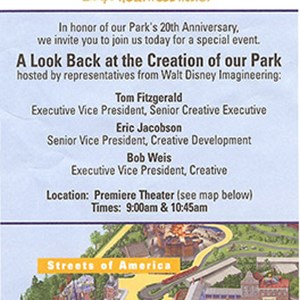 5 of 6: Disney's Hollywood Studios - Studios 20th birthday WDI event flyer.