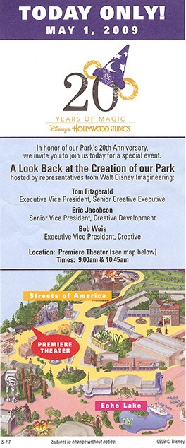 Disney's Hollywood Studios - Studios 20th birthday WDI event flyer.