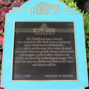 1 of 2: Disney's Hollywood Studios - Disney's Hollywood Studios dedication plaque