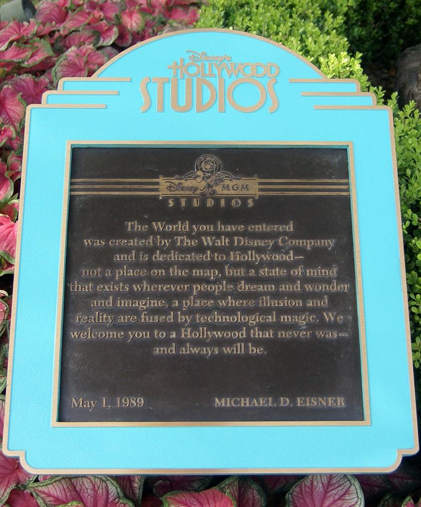 Disney's Hollywood Studios dedication plaque
