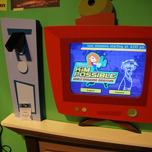 3 of 16: Disney's Kim Possible World Showcase Adventure - A touch screen terminal takes you through the sign up process and gives you your FASTPASS-type ticket with the time and location of your adventure.