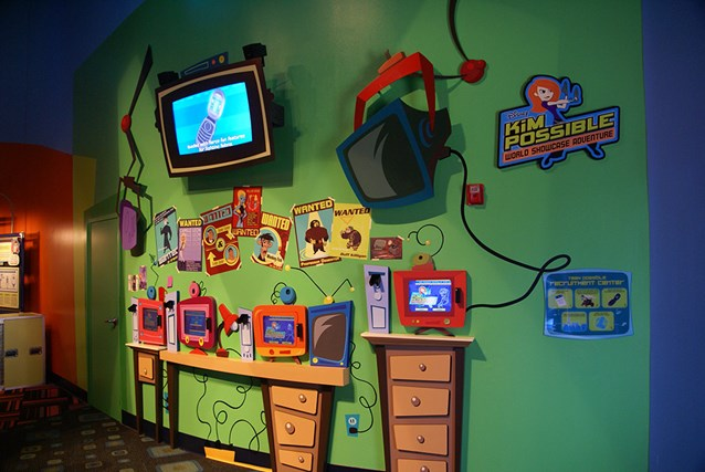 Disney's Kim Possible World Showcase Adventure - An area photo of the touch screens in Innoventions.