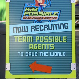 1 of 16: Disney's Kim Possible World Showcase Adventure - Signage outside of both Innoventions lets guests know where to start.