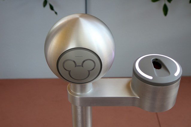Epcot - Close-up of the RFID reader - the Mickey head lights up green when successfully read, the finger scanner is on the right