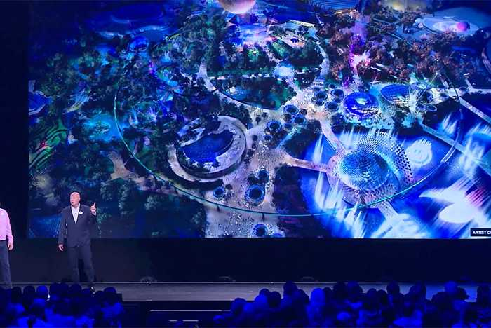 Blue Sky concept art for new central spine of Epcot