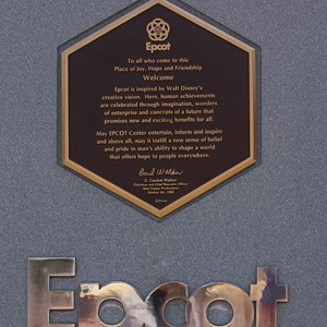 2 of 2: Epcot - A closeup of the Epcot dedication plaque, October 24 1982