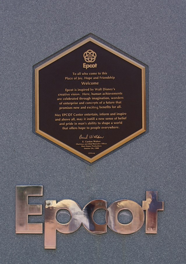 Epcot - A closeup of the Epcot dedication plaque, October 24 1982